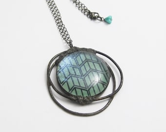 Mixed Media Pendant | Fused Glass | Wirework | Paper and Glass | Eclectic