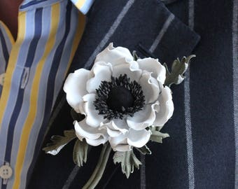 Groom's leather buttonhole, leather flower, leather jewelry, anemone jewellery, leather flowers, white leather corsage, leather gift