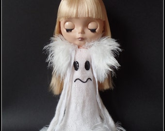 "PDF knitting pattern for Ghost dress and fluffy stole for 12"" Blythe"