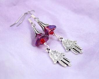 Wild Bellflower Hand of Fatima / Hamsa earrings, Purple and Red