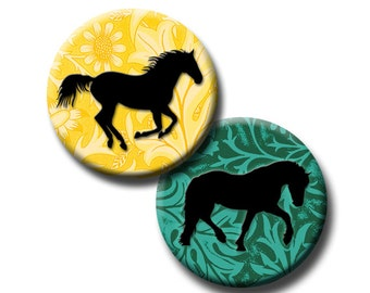 Horses on Spring Foliage - 1 inch circles - Digital collage sheet