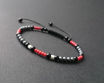 Mens stone bracelet matte natural hematite, onyx, howlite and Red coral