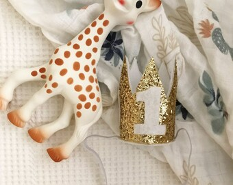 First Birthday Crown | Gold 1st Birthday Girl Outfit | Yellow Gold Girl First Birthday Outfit | 1st Birthday Hat | Gold Cown