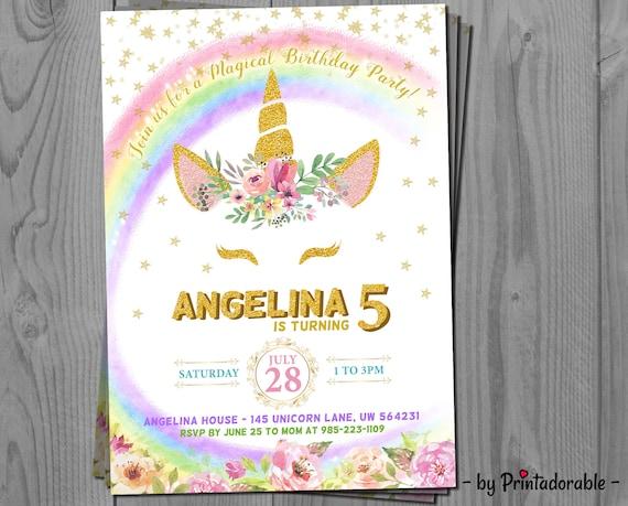 Unicorn Invitation - Unicorn Rainbow - Glitter Unicorn - Unicorn Invite - Unicorn - Rainbow Invitation - Unicorn Birthday - Rainbow Invite