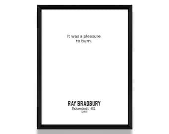Fahrenheit 451, Art Print, Poster, Minimalist Poster, Bookish Gift, Literary Gifts, Art Prints, Wall Art Prints, Print, Book Lover Gift