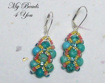 Beaded Earrings - Right Angle Weave - Beadwoven Earrings - Seed Bead Earrings - Drop Earrings - Turquoise Earrings - Beadwork Earrings