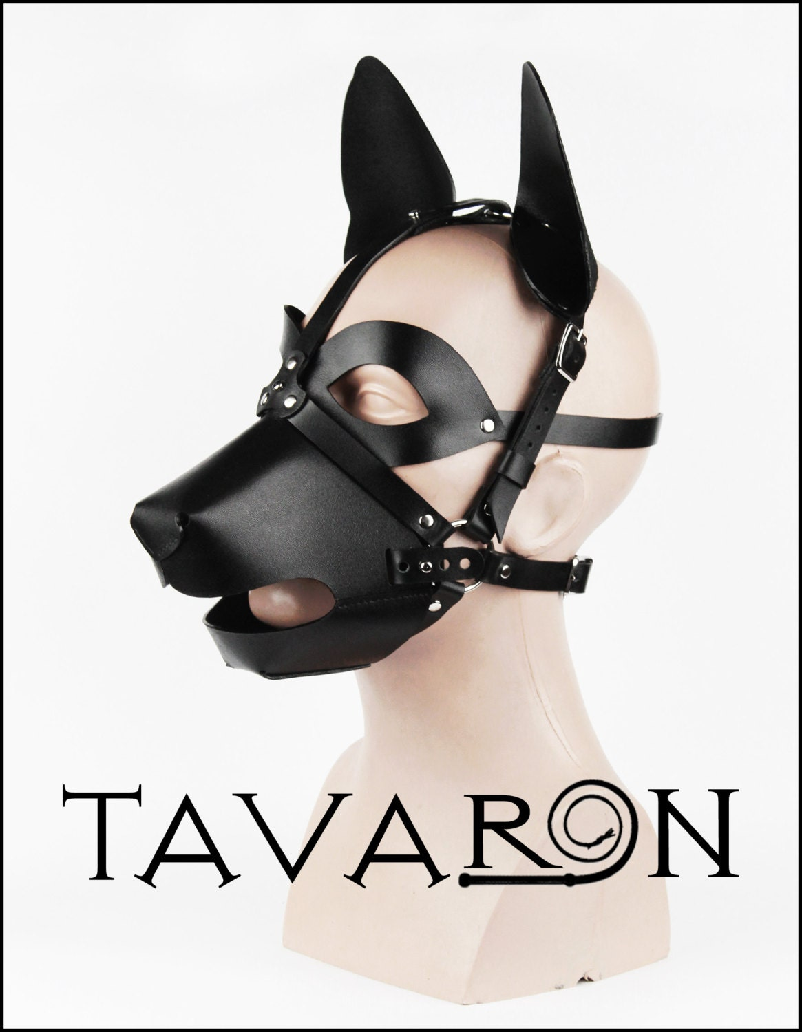 Puppy Play Muzzle Mask: Leather Mask Head Harness Dog Puppy With Muzzle