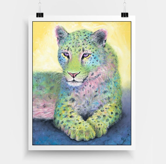 "Leopard Art Print - Leopard Gift, Zoo Animals Art, Big Cat Art, Colorful Zoo Art, Amur Leopard Print of my Painting ""Emerald"""