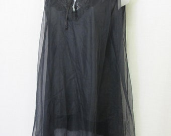 Short Black Nylon Nightgown Black Baby Doll  Men Nightgown Small Van Raalte