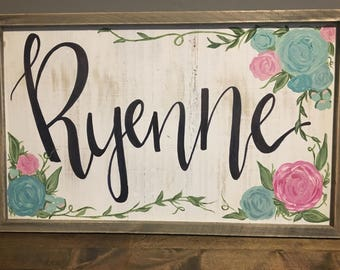 Custom floral name sign for nursery or kids room!