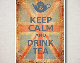 Keep Calm and DRINK TEA Typography Art Print, Old Union Jack background