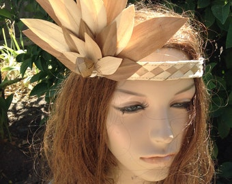 """Lauhala Headpiece. Very Simple And Affordable Tahitian And Cook Islands/Rarotongan Headpiece. Suitable For All Ages! Flower Measures 7""""- 9""""."""