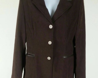 Vtg brown skirt suit with long maxi skirt and jacket blazer faux leather trim size 10 chest 40