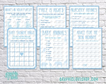 Digital Set of 6, 5x7 Blue Baby Boy Shower Games & Advice for Mom Card | PDF File, Instant Download, Ready to Print