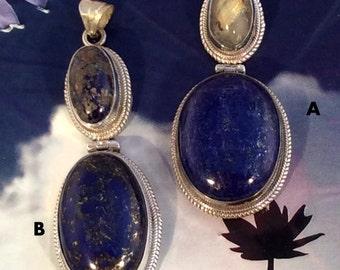 Large Lapis &  Chrysocolla or Rutilated Quartz Pendant. Sterling Silver, Hinged, Energy Stone, Blue, free US ship 91.00 ea