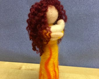 Brighid statue, needle felted art doll, pagan statue, wiccan altar decor, goddess statue