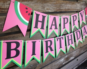Happy Birthday Watermelon Party Banner - One In A Melon Party, First Birthday, Baby Shower, Birthday Party, Summer Party, Photo Prop