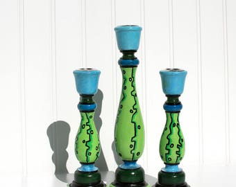Blue and Green Wooden Candle Stick Holders - Painted Candlesticks
