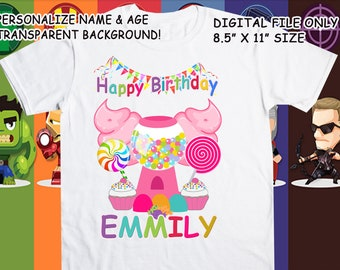 Candyland Printable Iron On Transfer - Custom Personalized T-Shirt Decal Design - Digital File - Personalize