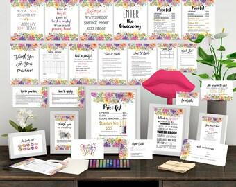Lipsense Marketing Kit, the ULTIMATE Marketing Set, FLORAL, WATERCOLOR,LipSense Business Cards, Lipsense Bundle Pack, Lipsense Cards Bundle