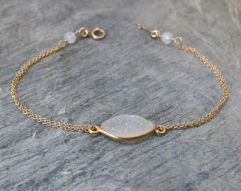Personalized Bridesmaid bracelet  Bridesmaids gift  Druzy bracelet Bridesmaid jewelry Druzy jewelry Gold druzy bracelet Initial bracelet