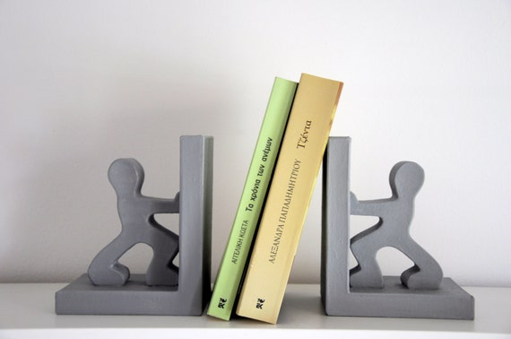 Grey Paper Mache / Bookend Stickman / Fun Bookends / Modern