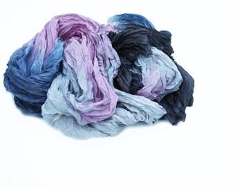 silk scarf - The Divine Morning -  blue, grey, pink, black silk scarf.