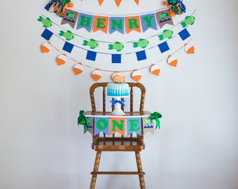 OFISHALLY ONE Birthday Highchair Highchair Banner Party Cake Smash Camping First Birthday Boy Happy Birthday Banner The Big ONE 1st Birthday