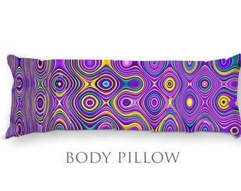 Purple Bed Pillow-Fleece Body Pillow-Bed Pillow Cover-Purple Body Pillow-Microfiber Pillow Cover-Funky Pillow-Bed Bolster-Fleece Bed Pillow