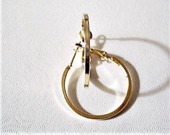 "1"" Square Band Hoops Pierced Earrings Gold or Silver Tone Vintage Large Round Open Box Tube Support Clips Rings"