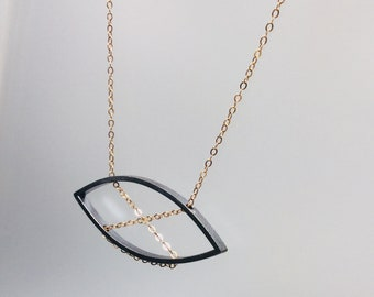 Oxidized sterling silver and bronze necklace