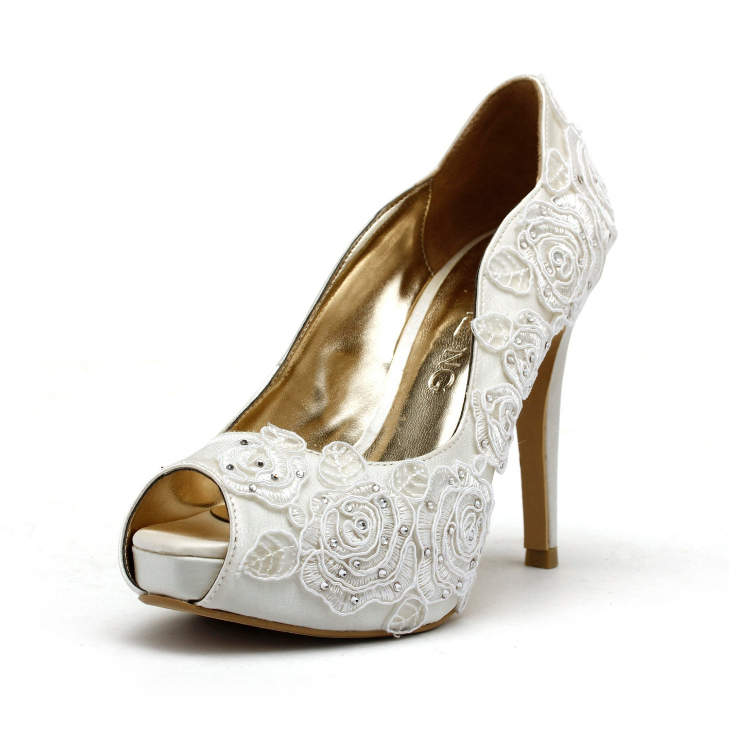 Wedding Bridal Heels: Rose Garden Ivory White Wedding Shoes Ivory White Bridal