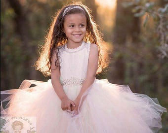 Custom length flower girl dress, flower girl dresses, ivory flower girl dress, blush dress, child dress, baby dress, light pink dress