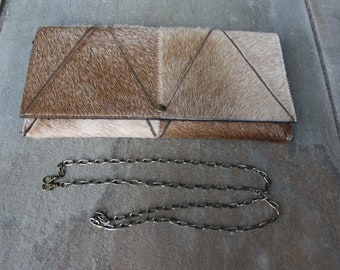 Cowhide Clutch - Light Brown Pyramid Fur Pattern