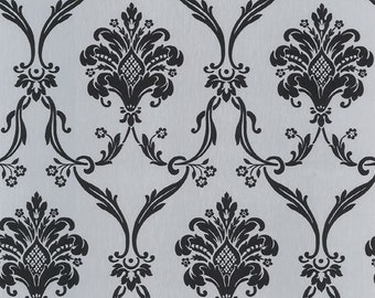 Wallpaper - Oversized Silver and Black Metallic Damask - Floral, Lattice, Intricate, Victorian, Modern, Elegant - By The Yard - CS27371 SO