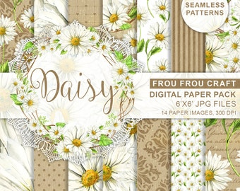 Daisies Digital Paper Pack Watercolor Daisy White Camomile Flowers Seamless Patterns Spring Green Romantic Wedding Instant Download Original