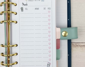 PERSONAL SIZE Planner Insert - Bills to pay