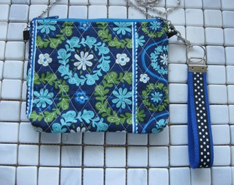 blue and green quilted wristlet with crossbody chain