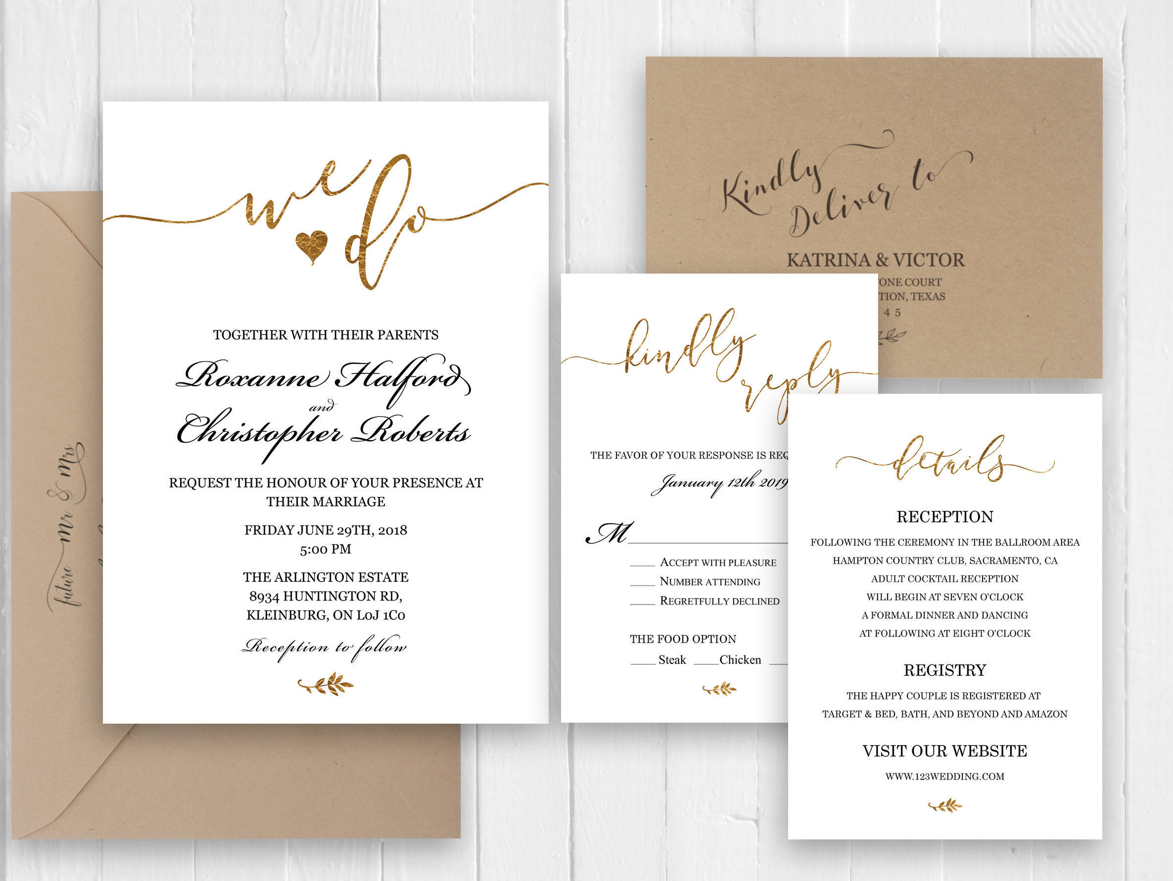 Gold glitter wedding Invitation Elegant Wedding invitation RSVP
