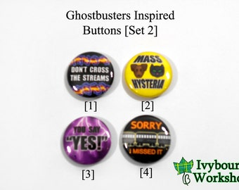 Ghostbusters Inspired 1-Inch Pinback Buttons [Set 2]