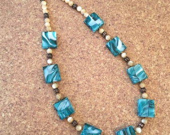 Teal Glass Squares with Natural Shell Beads and Bronze