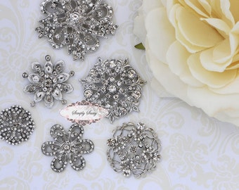 6pc Set GORGEOUS Rhinestone Crystal Metal Flatback Embellishment Button Brooches wedding bridal favor invitation crystal bouquet flower hair