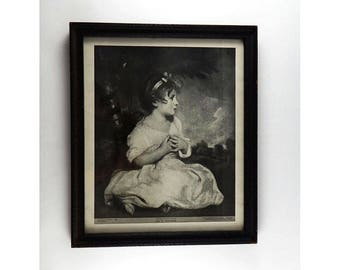 Antique Age Of Innocence Lithograph - National Gallery, London - 1914 By Eugene A Perry - Antique Wooden Frame - The Perry Pictures 862