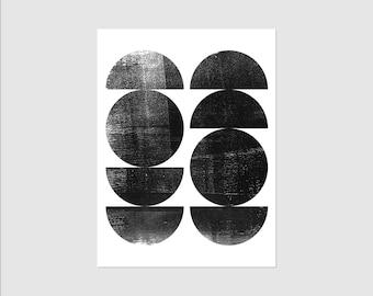 Black & White Circle Print - Mid Century Modern Art - Scandinavian Art - Abstract Art - Framed or Unframed Wall Art Print