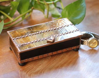 Handsome Brown and Copper Glass Box