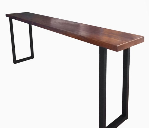 Wood table wood dining table harvest table wood furniture for Tall console table