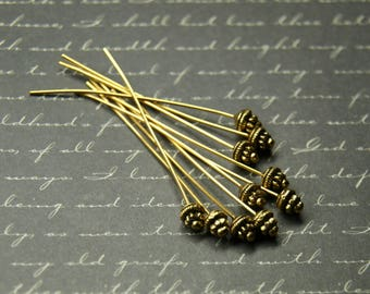 10 clasps antique gold metal 55mm