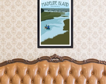 Lake Superior Shore Towns Series: Art Deco Madeline Island - Big Bay Travel Print