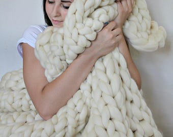 Chunky knit Blanket, Chunky knit Throw, Blanket with Trim, Super Chunky Knit Blanket, Blanket, Merino Blanket