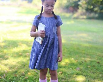 Chambray Linen Dress | Blue Linen Dress | Short Sleeve Dress | Girls Linen Dress | Toddler Linen Dress | Linen Baby Dress | Linen Clothes